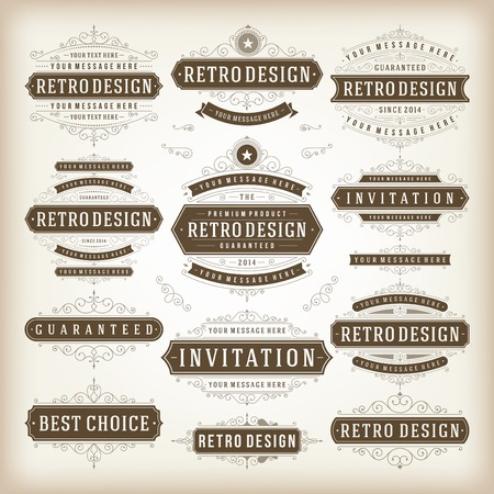 Vector vintage design elements. Premium quality labels, badges, logotypes, insignias, ornaments decorations, stamps, frames, sale signs best choice set. Retro style typographic flourishes elements. Vector