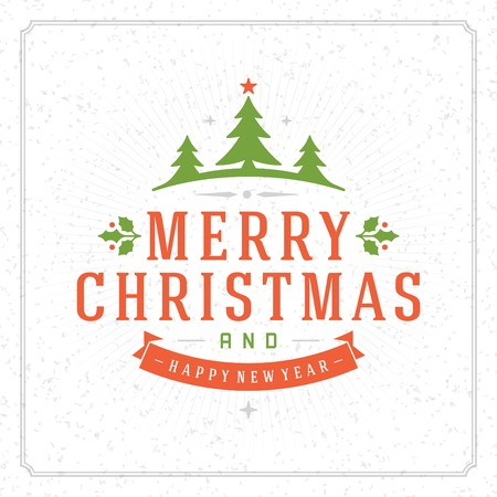 merry christmas and happy new year: Christmas retro typography and ornament decoration. Merry Christmas holidays wish greeting card design and vintage background. Happy new year message. Vector illustration Eps 10.