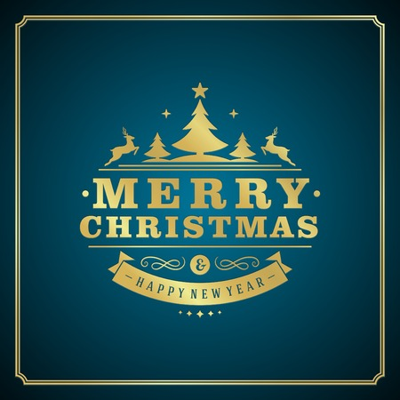 blue christmas background: Christmas retro typography and ornament decoration. Merry Christmas holidays wish greeting card design and vintage background. Happy new year message. Vector illustration Eps 10.