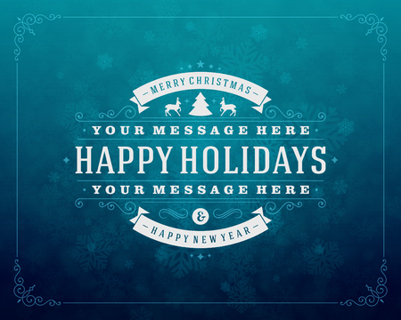 wish of happy holidays: Christmas retro typography and light with snowflakes. Merry Christmas holidays wish greeting card design and vintage ornament decoration. Happy new year message. Vector background Eps 10.