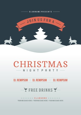 Christmas party invitation retro typography and ornament decoration. Christmas holidays flyer or poster design. Vector illustration Eps 10. Vectores