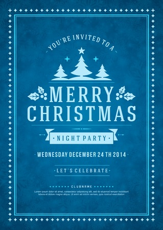 Christmas party invitation retro typography and ornament decoration. Christmas holidays flyer or poster design. Vector illustration Eps 10. Ilustração