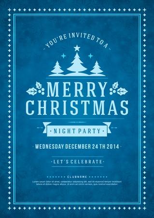 pascuas navideÑas: Invitación de la fiesta de Navidad de la tipografía retro y ornamento decoración. Vacaciones de Navidad Flyer o diseño de carteles. Ilustración vectorial Eps 10. Vectores