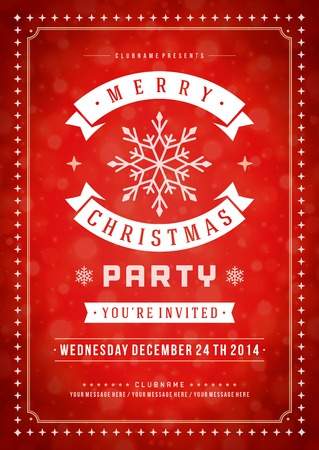 invitacion fiesta: Invitación de la fiesta de Navidad de la tipografía retro y ornamento decoración. Vacaciones de Navidad Flyer o diseño del cartel. Ilustración vectorial Eps 10.