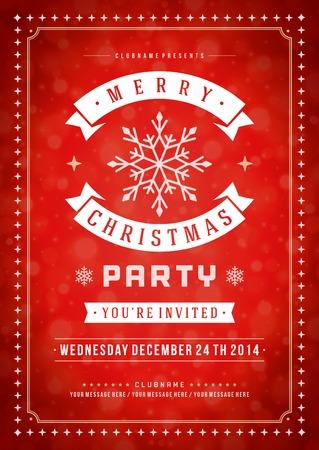 Weihnachtsparty Einladung Retro Typografie und Ornament Dekoration. Weihnachten Flyer oder Poster-Design. Vektor-Illustration Eps 10.