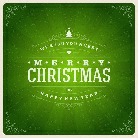 green banner: Christmas retro typography and ornament decoration. Merry Christmas holidays wish greeting card design and vintage background. Happy new year message. Vector illustration Eps 10.