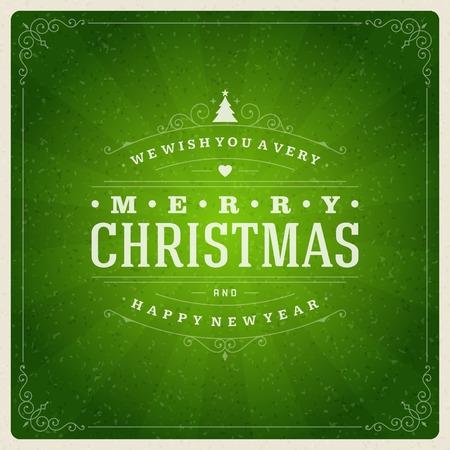 verde: Navidad tipografía retro y ornamento decoración. Días de fiesta Feliz Navidad desean diseño de tarjetas de felicitación y fondo de la vendimia. Feliz año nuevo mensaje. Ilustración vectorial Eps 10.