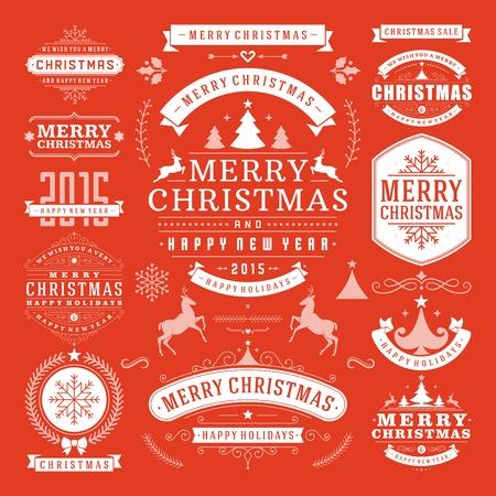 Kerstdecoratie Vector Design Elements. Vrolijk kerstfeest en gelukkig feestdagen wishes.Typographic elementen, vintage etiketten, frames, ornamenten en linten, in te stellen. Bloeit kalligrafische. Stock Illustratie
