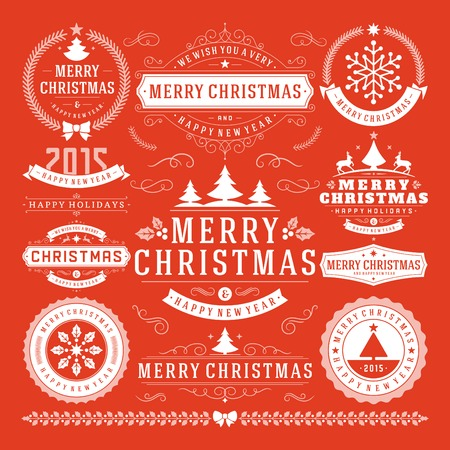 christmas party: Christmas Decoration Vector Design Elements. Merry Christmas and happy holidays wishes.Typographic elements, vintage labels, frames, ornaments and ribbons, set. Flourishes calligraphic.