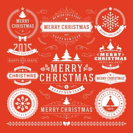 insignias: Decoraci�n de Navidad Elementos de dise�o vectorial. Feliz Navidad y felices fiestas wishes.Typographic elementos, etiquetas de �poca, cuadros, adornos y cintas, establecen. Flourishes caligr�ficos.