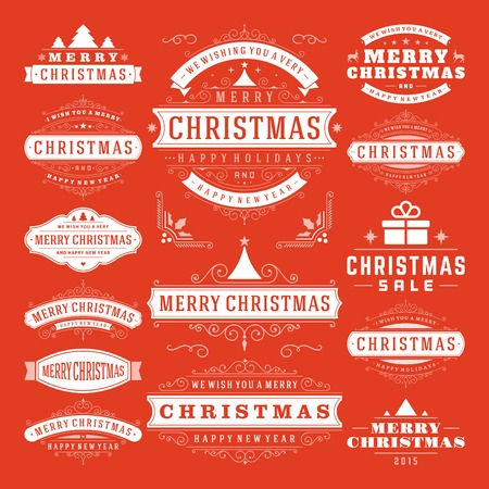 christmas ribbon: Christmas Decoration Vector Design Elements. Merry Christmas and happy holidays wishes.Typographic elements, vintage labels, frames, ornaments and ribbons, set. Flourishes calligraphic.