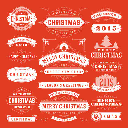 holiday celebrations: Christmas Decoration Vector Design Elements. Merry Christmas and happy holidays wishes.Typographic elements, vintage labels, frames, ornaments and ribbons, set. Flourishes calligraphic.
