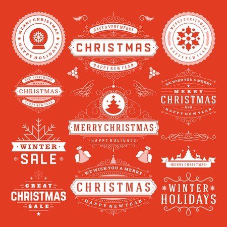 christmas parties: Christmas Decoration Vector Design Elements. Merry Christmas and happy holidays wishes.Typographic elements, vintage labels, frames, ornaments and ribbons, set. Flourishes calligraphic.