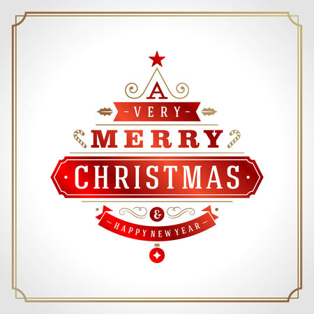 happy new year text: Christmas tree typography from text and ornament decoration. Merry Christmas holidays wish greeting card design and vintage background. Happy new year message.