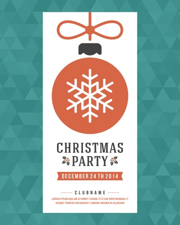 poster design: Christmas party invitation retro typography and ornament decoration. Christmas holidays flyer or poster design.   Illustration