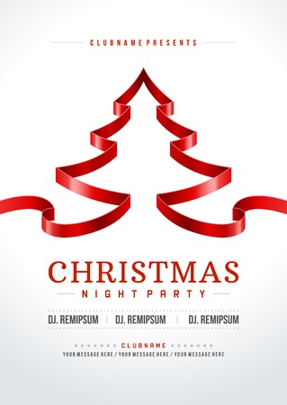 merry xmas: Christmas party invitation retro typography and ornament decoration. Christmas holidays flyer or poster design.