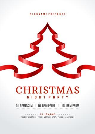 Noel partisi davetiyesi, retro tipografi ve süsleme dekorasyon. Noel tatili ilanı veya poster tasarımı. Çizim