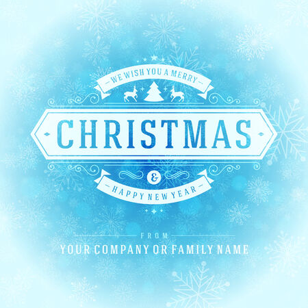 typography vector: Christmas retro typography and light with snowflakes. Merry Christmas holidays wish greeting card design and vintage ornament decoration. Happy new year message. Vector background Eps 10.