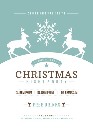 fonts music: Christmas party invitation retro typography and ornament decoration. Christmas holidays flyer or poster design.