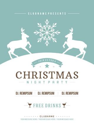 Kerstfeest uitnodiging retro typografie en ornament decoratie. Kerstvakantie flyer of affiche ontwerp. Stock Illustratie