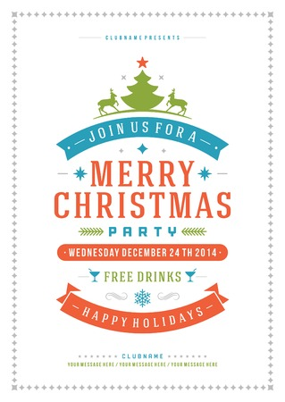 festive season: Christmas party invitation retro typography and ornament decoration. Christmas holidays flyer or poster design.