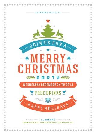 święta bożego narodzenia: Christmas party zaproszenie retro typografia i ozdoba dekoracji. Boże Narodzenie wakacje ulotki lub plakatu.