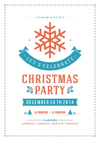 fiesta: Invitaci�n de la fiesta de Navidad de la tipograf�a retro y ornamento decoraci�n. Vacaciones de Navidad Flyer o dise�o del cartel. Ilustraci�n vectorial Eps 10.