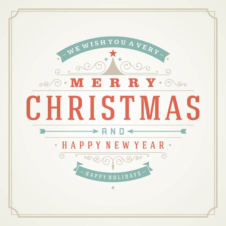 Christmas retro typography and ornament decoration. Merry Christmas holidays wish greeting card design and vintage background. Happy new year message. Vector illustration. Vector