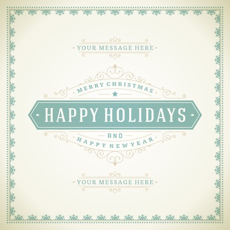 decoration    design: Christmas retro typography and ornament decoration. Merry Christmas holidays wish greeting card design and vintage background. Happy new year message. Vector illustration.