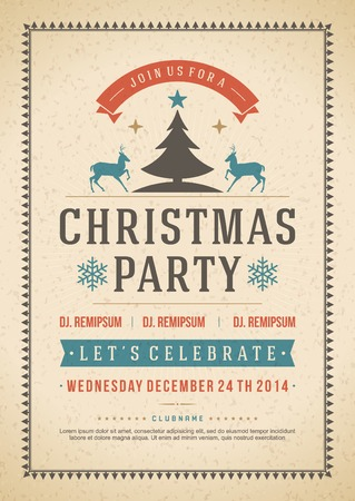 Christmas party invitation retro typography and ornament decoration. Christmas holidays flyer or poster design.   Ilustração