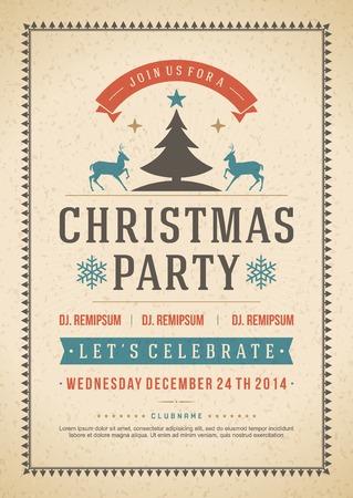 bağbozumu: Noel partisi davetiyesi, retro tipografi ve süsleme dekorasyon. Noel tatili ilanı veya poster tasarımı. Çizim