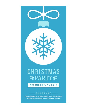 new years parties: Christmas party invitation retro typography and ornament decoration. Christmas holidays flyer or poster design.   Illustration