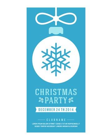 cintas navide�as: Invitaci�n de la fiesta de Navidad de la tipograf�a retro y ornamento decoraci�n. Vacaciones de Navidad Flyer o dise�o del cartel.