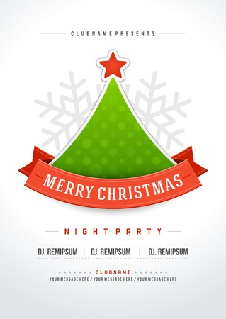christmas party: Christmas party invitation retro typography and ornament decoration. Christmas holidays flyer or poster design.   Illustration