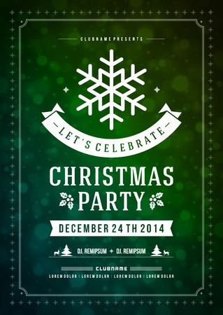 retro christmas: Christmas party invitation retro typography and ornament decoration. Christmas holidays flyer or poster design.