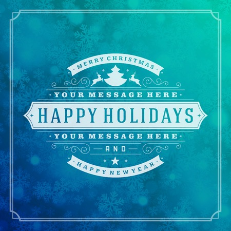 blue christmas background: Christmas retro typography and light with snowflakes. Merry Christmas holidays wish greeting card and vintage ornament decoration. Happy new year message.