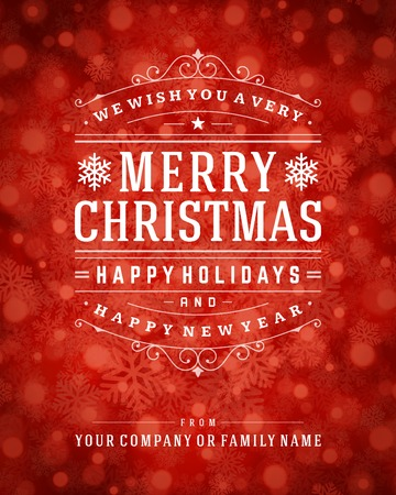 Christmas retro typography and light with snowflakes. Merry Christmas holidays wish greeting card design and vintage ornament decoration. Happy new year message.  Ilustração