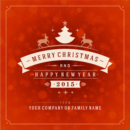 Christmas retro typography and light with snowflakes. Merry Christmas holidays wish greeting card design and vintage ornament decoration. Happy new year message.