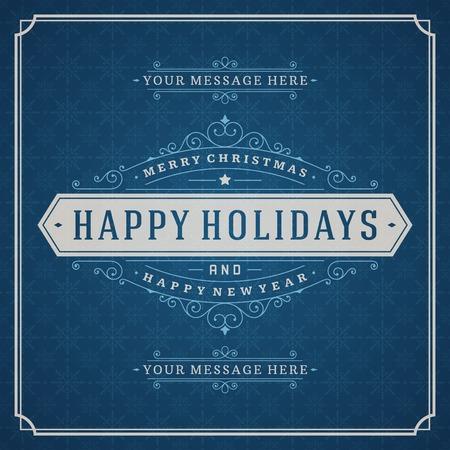 temporada: Retro tarjeta de felicitación de Navidad y decoración de ornamento. Días de fiesta Feliz Navidad desean diseño de la invitación y la cosecha de fondo. Feliz año nuevo mensaje. Ilustración del vector. Vectores