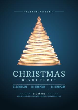 danza clasica: Invitaci�n de la fiesta de Navidad de la tipograf�a retro y ornamento decoraci�n. Vacaciones de Navidad Flyer o dise�o del cartel. Ilustraci�n vectorial Eps 10.