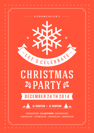 christmas decoration: Christmas party invitation retro typography and ornament decoration. Christmas holidays flyer or poster design. Vector illustration Eps 10. Illustration