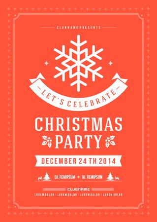 invitación a fiesta: Invitación de la fiesta de Navidad de la tipografía retro y ornamento decoración. Vacaciones de Navidad Flyer o diseño del cartel. Ilustración vectorial Eps 10.