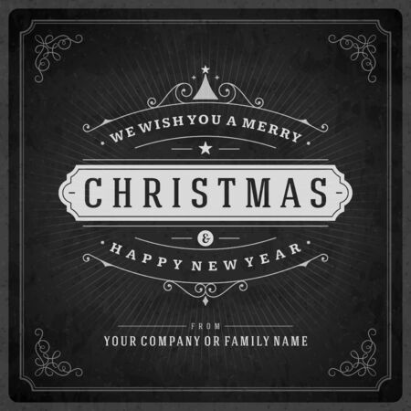 typography vector: Christmas retro typography and ornament decoration. Merry Christmas holidays wish greeting card design and vintage background. Happy new year message. Vector illustration Eps 10.