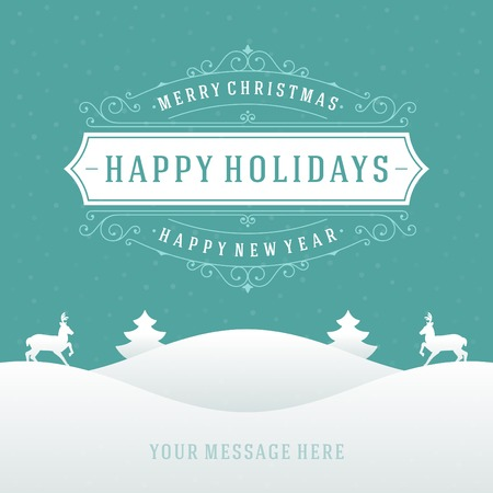 holiday message: Christmas retro typographic and ornament decoration. Merry Christmas holidays wish greeting card and vintage background. Happy new year message. Vector illustration Eps 10. Illustration