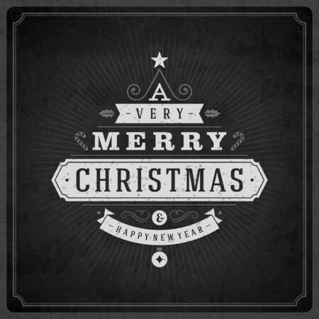 Christmas tree typography from text and ornament decoration. Merry Christmas holidays wish greeting card design and vintage background. Happy new year message. Vector illustration Eps 10. Vector