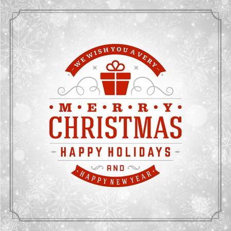 Noël rétro typographie et la lumière avec des flocons de neige. Vacances Joyeux Noël souhaitent conception de cartes de voeux et de décoration ornement vintage. Nouveau message de Bonne année. Vecteur de fond Eps 10.