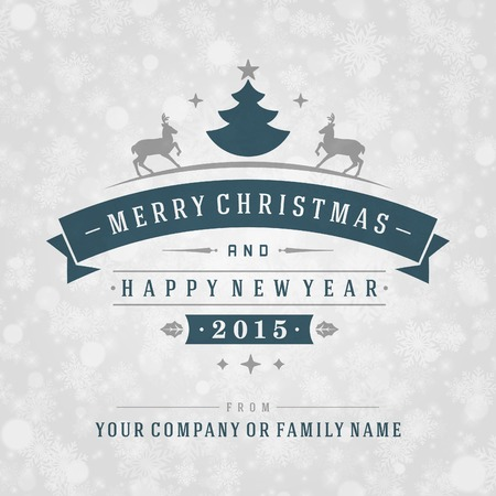 bokeh message: Christmas retro typography and light with snowflakes. Merry Christmas holidays wish greeting card design and vintage ornament decoration. Happy new year message. Vector background Eps 10.