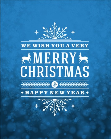 sparkle background: Christmas retro typography and light with snowflakes. Merry Christmas holidays wish greeting card design and vintage ornament decoration. Happy new year message. Vector background Eps 10.