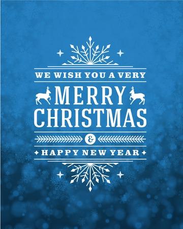 Noël rétro typographie et la lumière avec des flocons de neige. Vacances Joyeux Noël souhaitent conception de cartes de voeux et de décoration ornement vintage. Nouveau message de Bonne année. Vecteur de fond Eps 10. Illustration