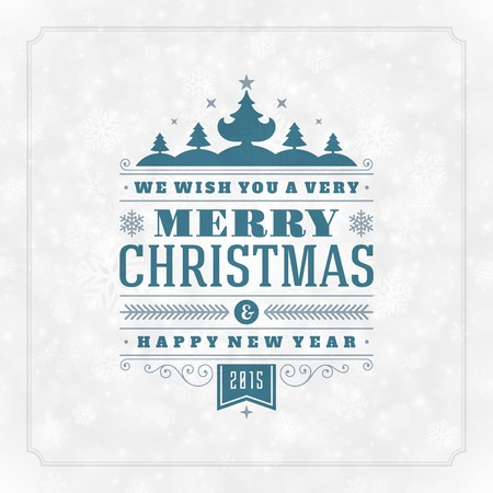 Christmas retro typography and light with snowflakes. Merry Christmas holidays wish greeting card design and vintage ornament decoration. Happy new year message. Vector background Eps 10. Vector